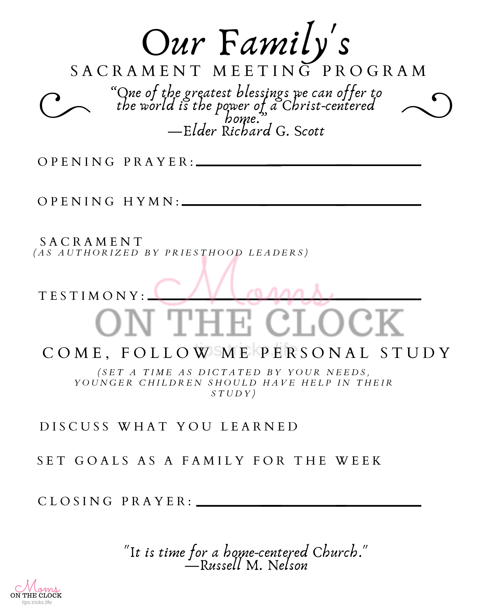 Family Sacrament Schedule Free Printable Moms On The Clock